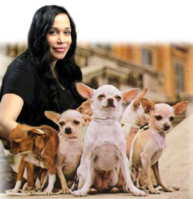 Nadya Suleman with a litter of chihuahuas