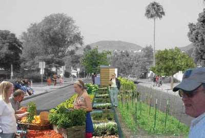 Photo of a wide suburban street whose median has been turned into vegetable rows and a farm stand
