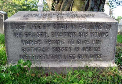 Gravestone saying a 15-year-old boy died by falling on an ink eraser while evading six young women trying to kiss him on his birthday