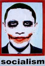 Obama in Joker face with Socialism written below the image