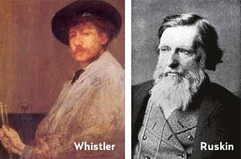 Self portrait of Whistler next to black and white photo of Ruskin