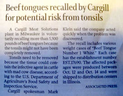 Short AP story with headline Beef Tongues Recalled by Cargill for Potential Risk from Tonsils
