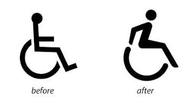 Usual disability figure in a wheelchair contrasted with a much more active figure that is using its arms to push the wheels on the chair