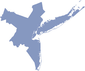 Irregular blue shape comprising New York City's metropolitan area