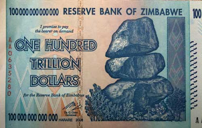 Zimbabwean currency for 100 trillion dollars