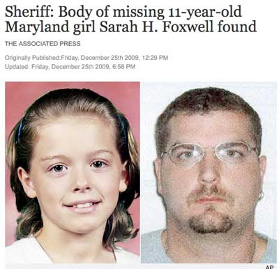 Photo of a girl with headline Sheriff: Body of missing 11-year-old Maryland girl Sarah H. Foxwell found