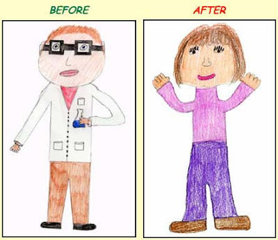 Side by side kid drawings of a male scientist in a white lab coat and a female scientist in regular clothes
