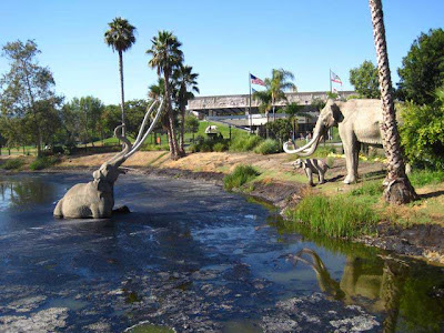 La Brea Tar Pits with fake mammoths in peril
