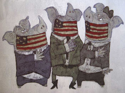 Three pigs with flags across their mouths like gags
