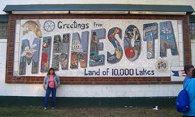 Wall mosaic that looks like a classic Greetings from Minnesota postcard