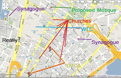 Map of lower Manhattan showing 2 synagogues, 7 churches and 2 YMCAs near Ground Zero