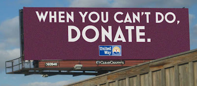 Billboard redesigned to say just When You Can't Do, Donate. with United Way logo