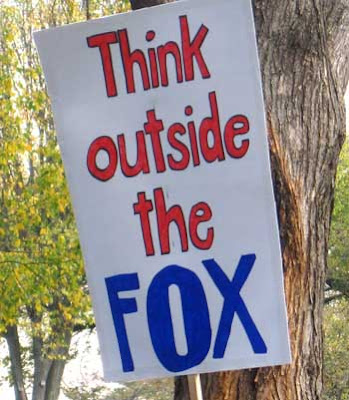 Think outside the Fox, red and blue marker on white foamcore board