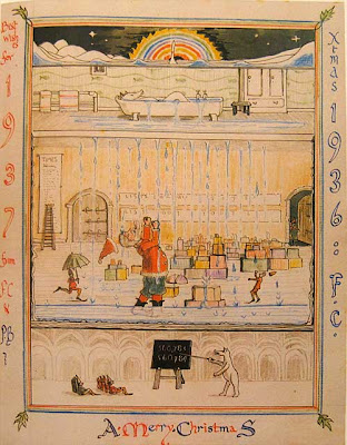 Sectioned illustration of polar bear in an overflowing bathtub, Father Christmas one floor below outraged as water pours out of the ceiling onto the gifts