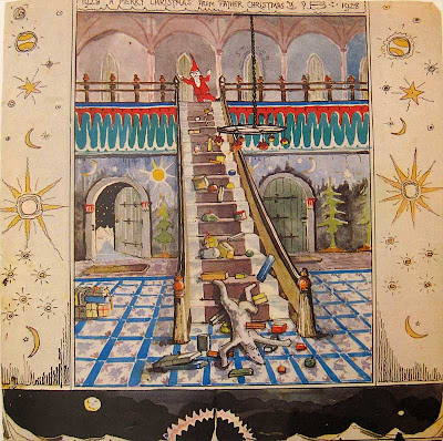 Watercolor illustration of a polar bear at the bottom of a long staircase, Father Christmas at the top looking down at him