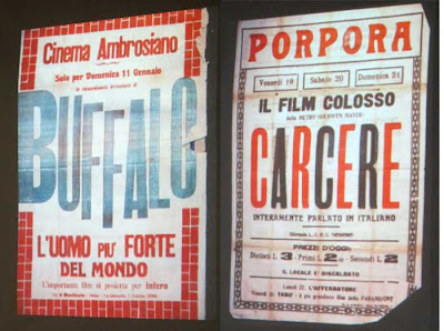 Two Italian cinema posters, one spelling Boris Kaloff's name Harloff
