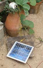 Small solar panel and LED light
