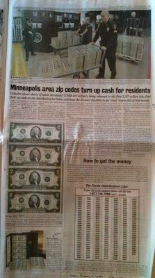 Full page Universal Media Syndicate ad for World Reserve Monetary Exchange uncut $2 bill ad