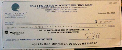 $15,000 check from Pacific Capital