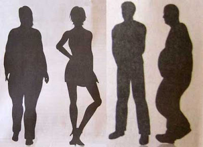 Four black silhouettes of adults, two women, two men