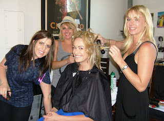 Ashlan Gorse has her hair styled by Edwards' team