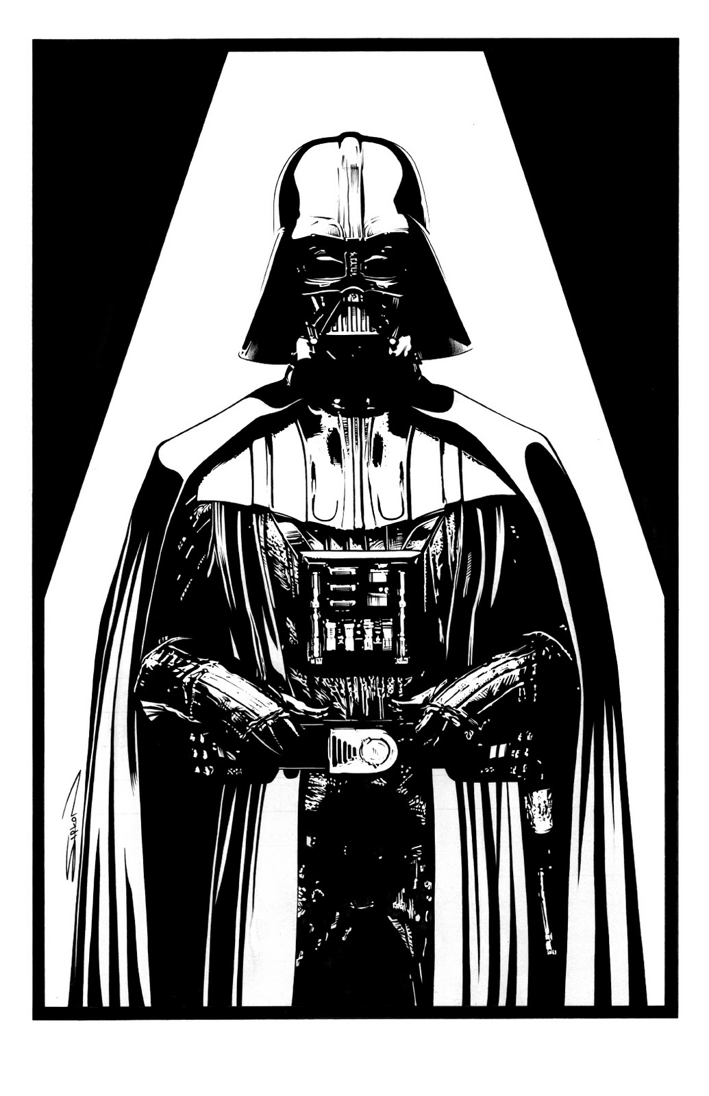 Randy siplon sketch cards portraits illustration for Darth vader black and white
