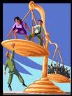 En la imagen se ve el dibujo de una balanza muy desiquilibrada en la que una persona untenta  subir donde menos peso tiene y no puede ya que el desequilibrio es muy grande