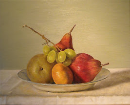 Fruit on blue plate