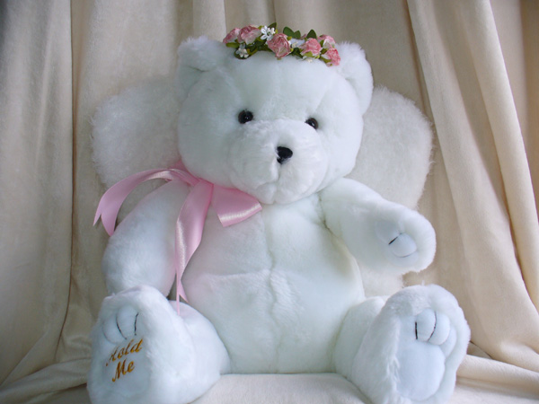 snow angel teddy bear white wings
