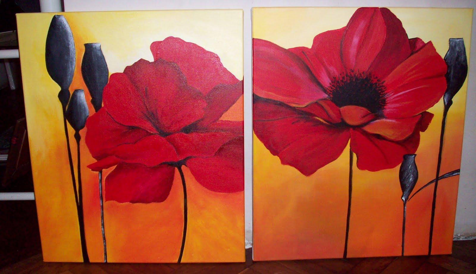 Cuadros flores modernos polipticos tripticos decorativos - Cuadros decorativos modernos ...