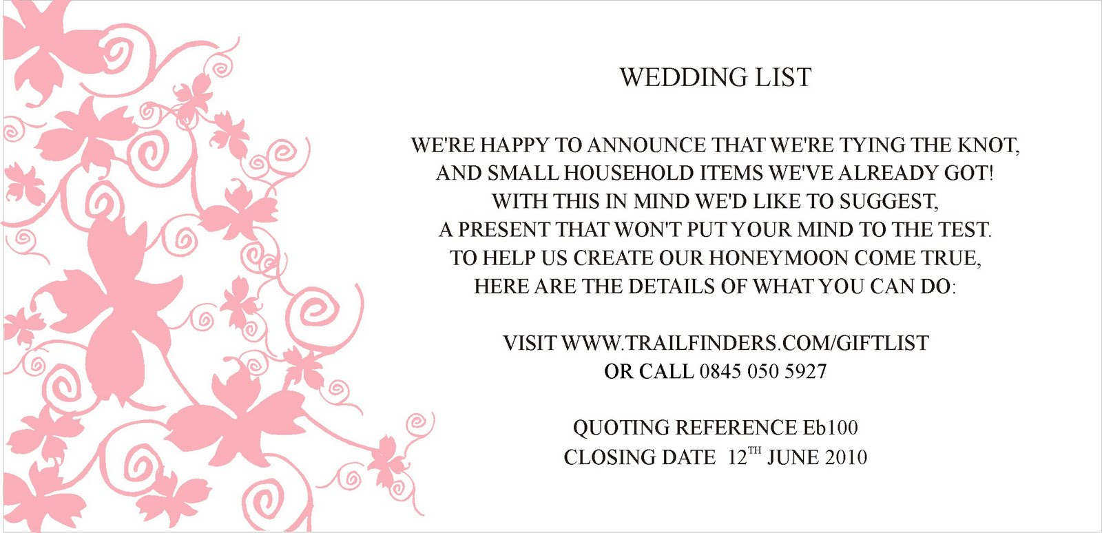 Message For Wedding Gift List : Inspiration for weddings, invitations and stationery: May 2010
