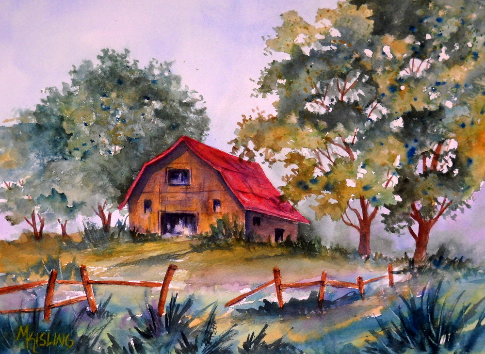Martha kisling art with heart country barn watercolor for Watercolor barn paintings