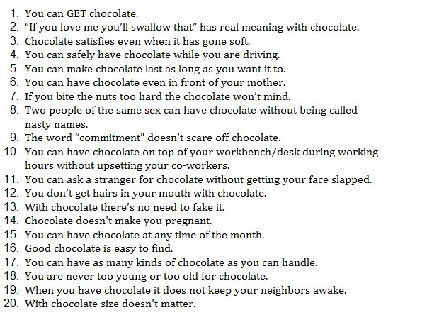 Why is chocolate better than sex
