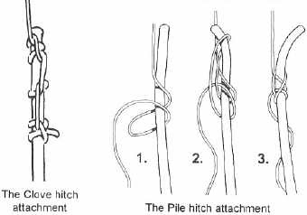 Привязывание основной верёвки к репшнуру