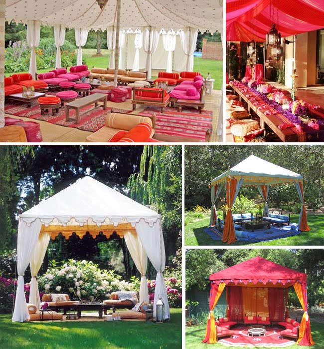 Sex the city moroccan inspired party for Outdoor party tent decorating ideas
