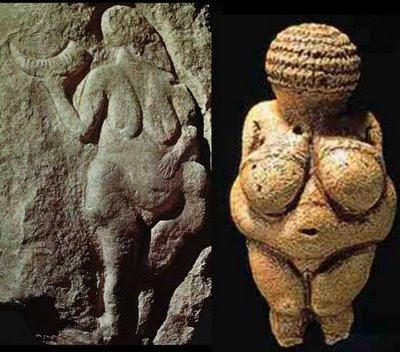 Vênos de Savinhano e Vênus de Willendorf - Idade da Pedra Lascada