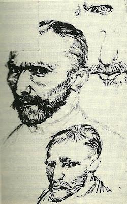 Vincente Van Gogh, Auto-retratos desenhados numa carta de marco de 1886