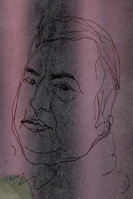 Portrait de l'humoriste Raymond Devos, dessin au trait noir sur fond vieux rose.