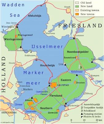 Mapa de los Zuiderzeeworks (Wikimedia Commons)