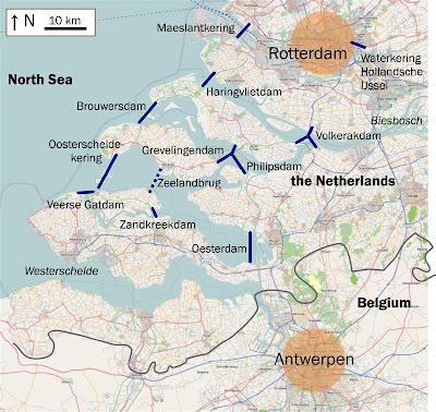 Mapa de los diques y barreras de los Trabajos del Delta (Wikimedia Commons)