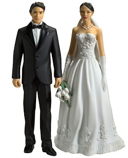 Cake Toppers African American Groom Caucasian Bride