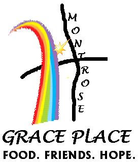 Montrose Grace Place Logo, showing a stylized map of the Montrose and Westhiemer area with Waugh shown as a rainbow, the location of Grace Lutheran Church is a gold star