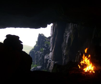 setting up camp in a cave