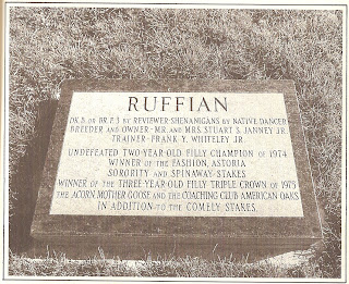 Ruffian's grave at Belmont Park. Source: NYRA