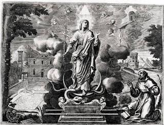 Duns Scoto, inginocchiato, in atteggiamento estatico, davanti alla Vergine Immacolata, mentre pronunzia la preghiera: Dignare me laudare te Virgo Sacrata. Egli regge in mano una penna a simboleggiare l'impegno di difendere in pubblico il Mistero dell'Immacolata Concezione di Maria. La Vergine è coronata di dodici stelle e poggia i suoi piedi sopra l'Arca dell'Alleanza, nella mano destra regge un giglio. Intorno al capo di Maria c'è un coro di angeli, mentre il simbolo della Trinità domina su di Lei, attorno sono raffigurati i simboli mariani: la rosa, la fonte, il giardino chiuso, la stella, la città santa, lo specchio senza macchia, la porta del cielo, la torre, la radice di Jesse.