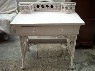 Uhuru Furniture Collectibles 1930s Small White Wicker Desk Vanity SOLD
