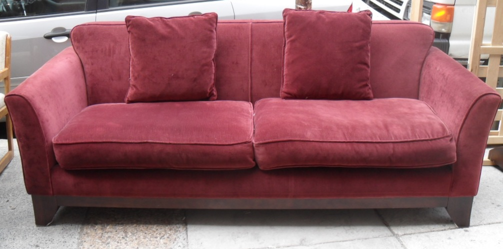 Uhuru Furniture & Collectibles: Wine Colored Couch and Ottoman SOLD