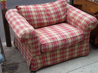 Oversized Red Plaid Chair U0026 Ottoman   SOLD!