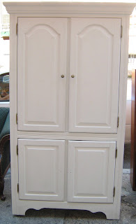 Uhuru Furniture & Collectibles: White Wood TV Armoire - SOLD!