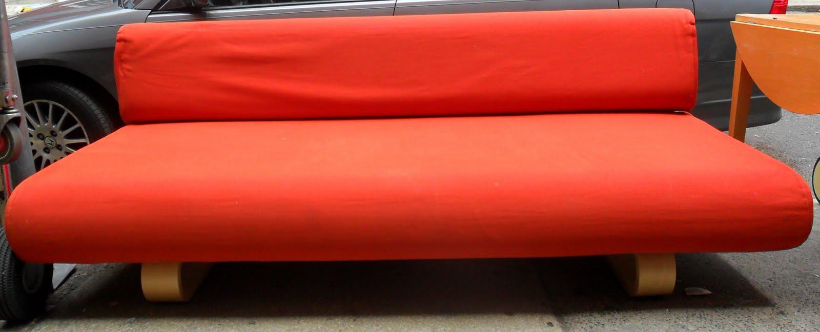 Uhuru Furniture Collectibles IKEA Orange Couch SOLD